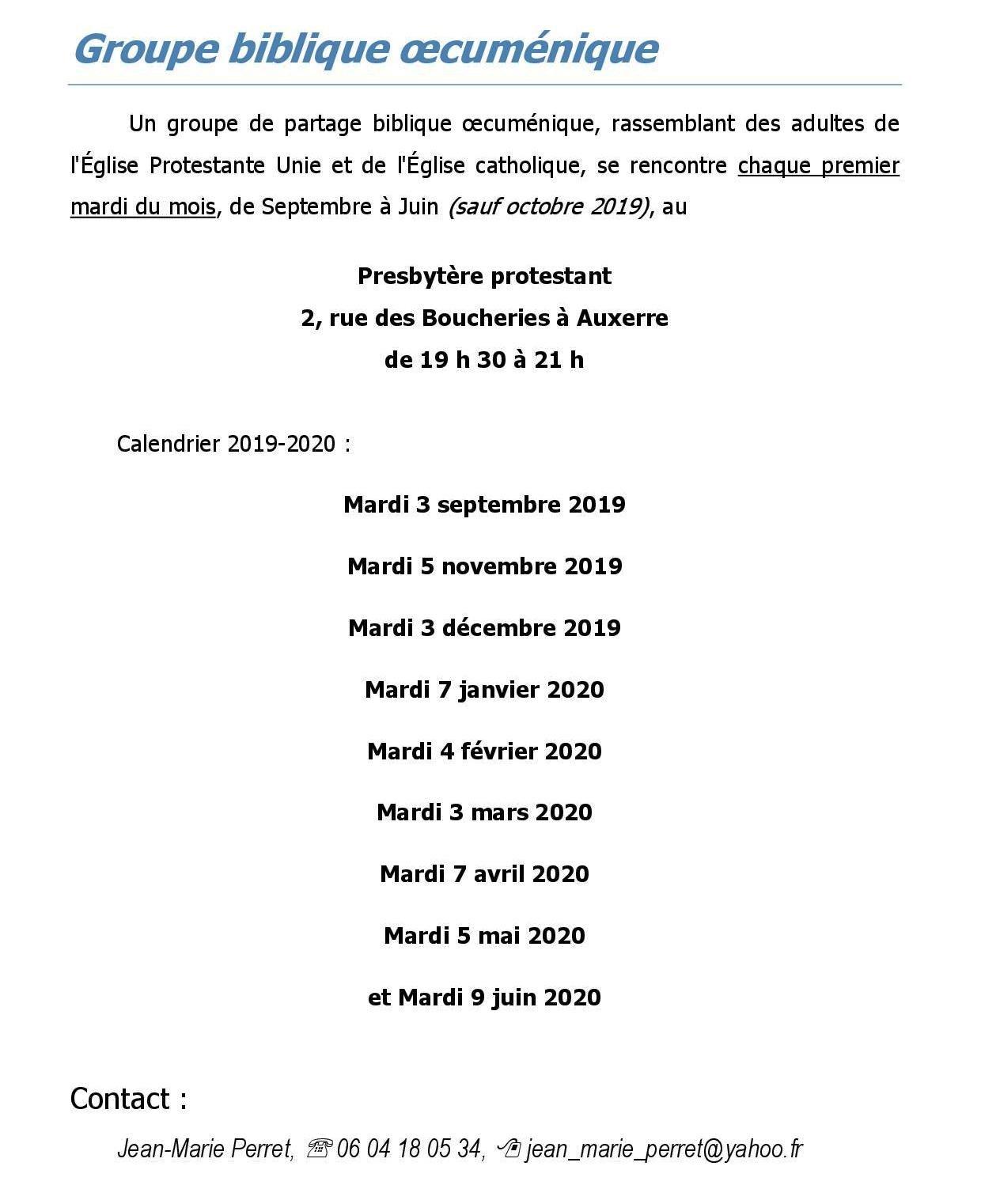 Calendrier Biblique.Groupe Biblique Oecumenique 16 Paroisse Saint Germain D